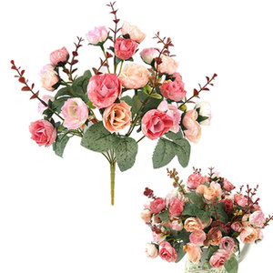 Image 3 - باقة أزهار حرير محاكاة ورود اصطناعية أوروبية جميلة من 21 رأسًا مناسبة لحفلات الزفاف
