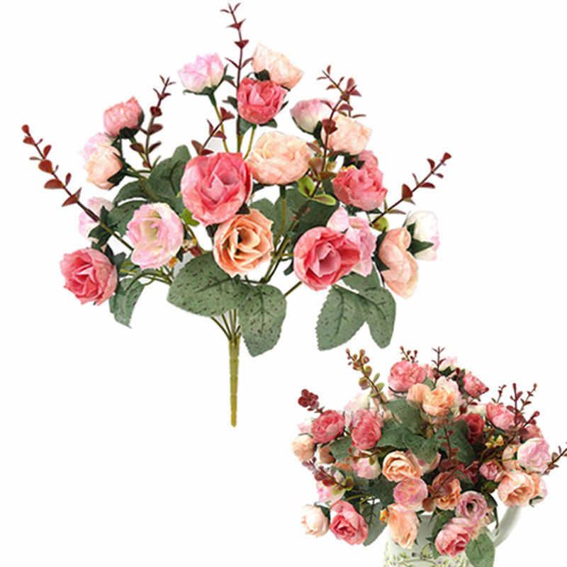 21 ヘッドエレガントな美しいヨーロッパ人工ローズシミュレーションの花のブーケ家デクパーティーウェディングデカール