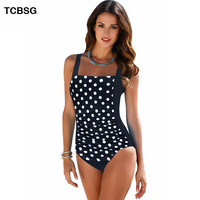 Plus Size Swimwear Female Polka Dot One Piece Swimsuit Women Vintage Bathing Suit One Piece Suit