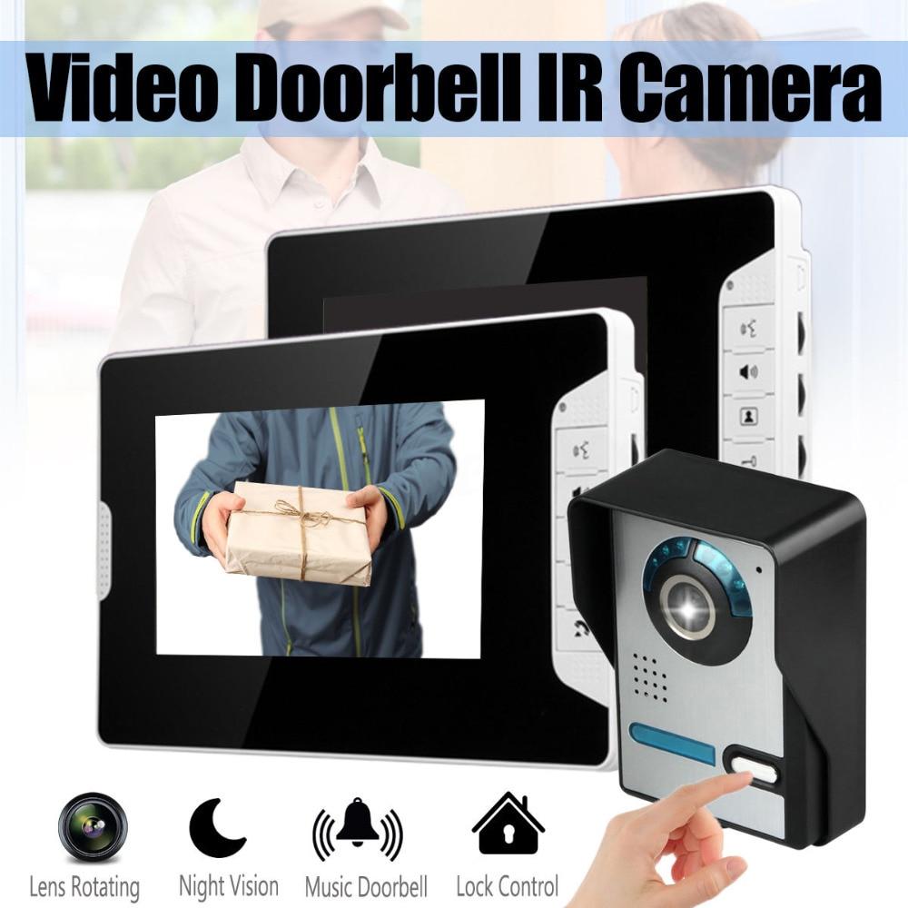 MOUNTAINONE 7 Inch TFT Video Door Phone Doorbell Intercom Kit 1-camera 2-monitor Night Vision With IR-CUT HD 1000TVL Camera