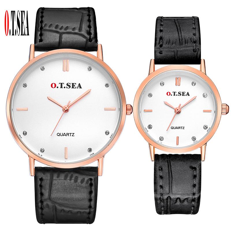 Luxury O.T.SEA Brand Leather Pair Watches Men Women Lover Couple Fashion Crystal Dress Quartz Wristwatch 6688-4