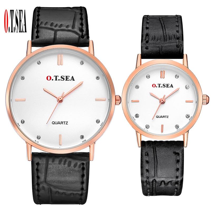 Luxury O.T.SEA Brand Leather Pair Watches Men Women Lover Couple Fashion Crystal Dress Quartz Wristwatch 6688-4Luxury O.T.SEA Brand Leather Pair Watches Men Women Lover Couple Fashion Crystal Dress Quartz Wristwatch 6688-4