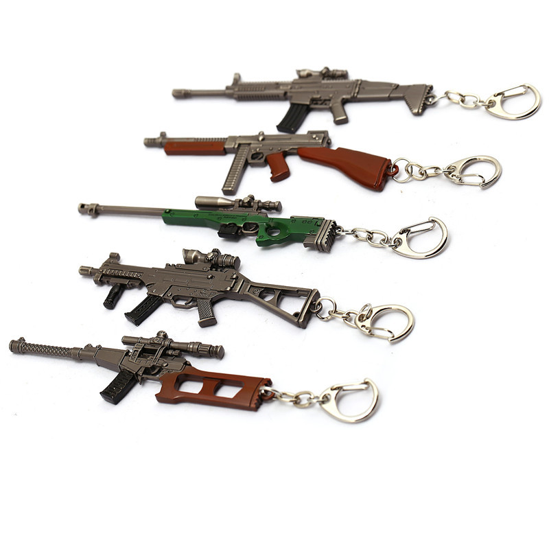 J Store Mixed Game PUBG Playerunknown's Battlegrounds Metal Alloy Gun Model Keychain Stranger Things Chaveiro Men Souvenir