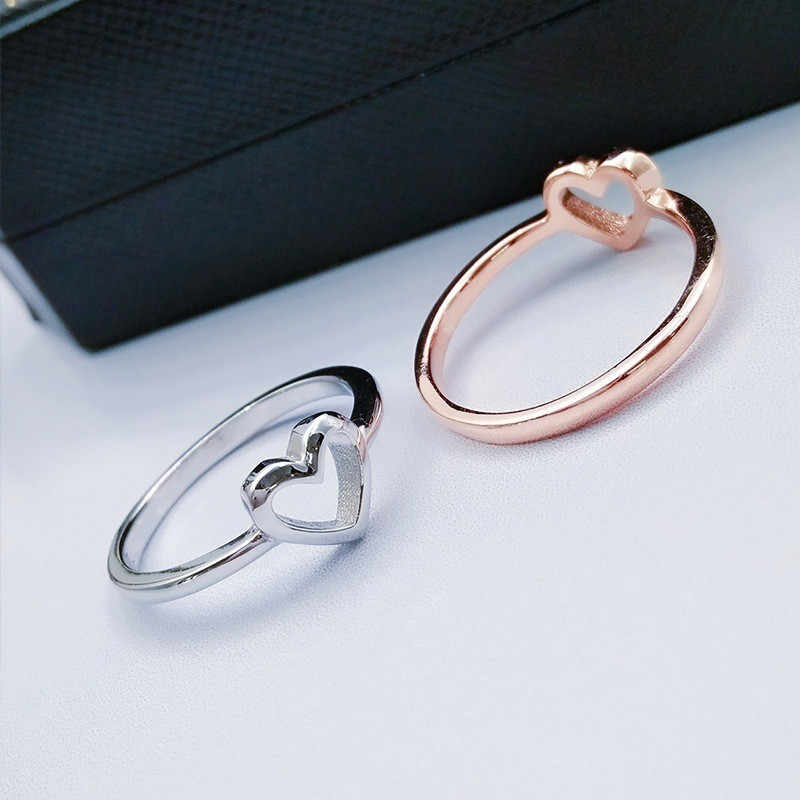 Modyle 2018 ใหม่แฟชั่น Rose Gold สีรูปหัวใจงานแต่งงานแหวนผู้หญิง Dropshipping