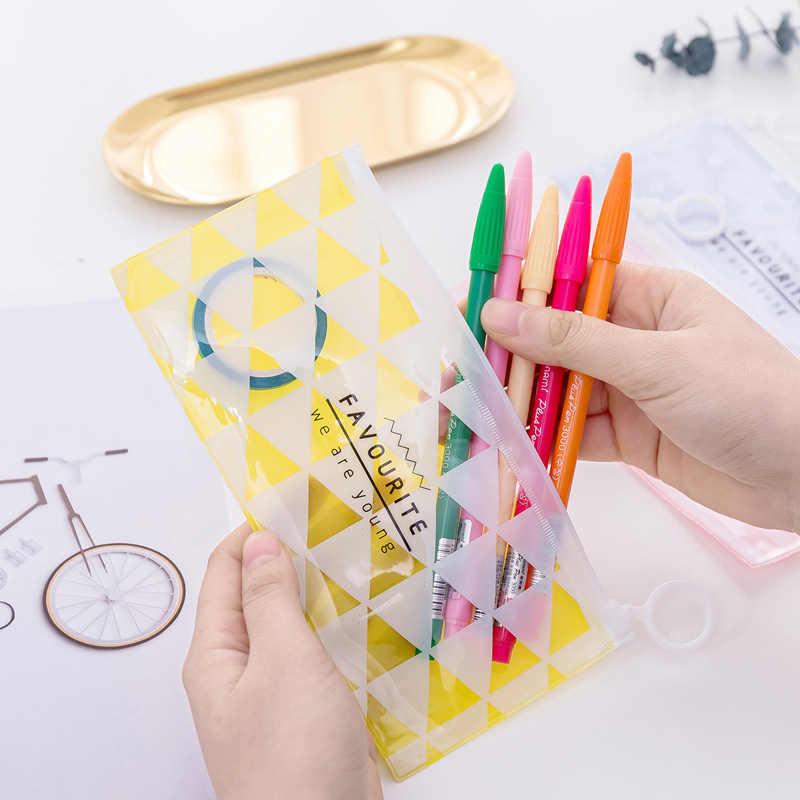 Kawaii grade listra pvc à prova dcute água saco de lápis bonito colorido claro caneta casos transparente escola lápis caso para meninas papelaria