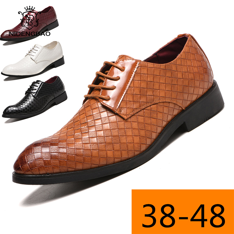 Brand Business Men Shoes Big Size 38-48 Formal Dress Shoes Man Pointed Oxford PU Leather Flats Casual Shoes Men Office Footwear