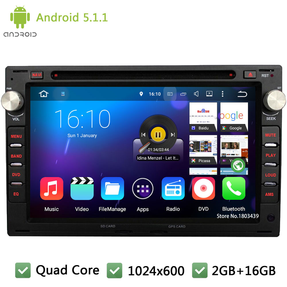 Quad Core Android 5.1.1 DAB+ 1024*600 Car DVD Player Radio Audio Stereo PC For Volkswagen VW Jetta Polo Bora Golf 4 Passat B5 T5