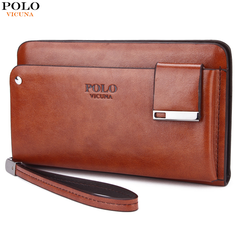 VICUNA POLO Famous Brand Business Men Money Bag With Rotatable Card Holder Large Capacity Clutch High Quality Leather Men Wallet