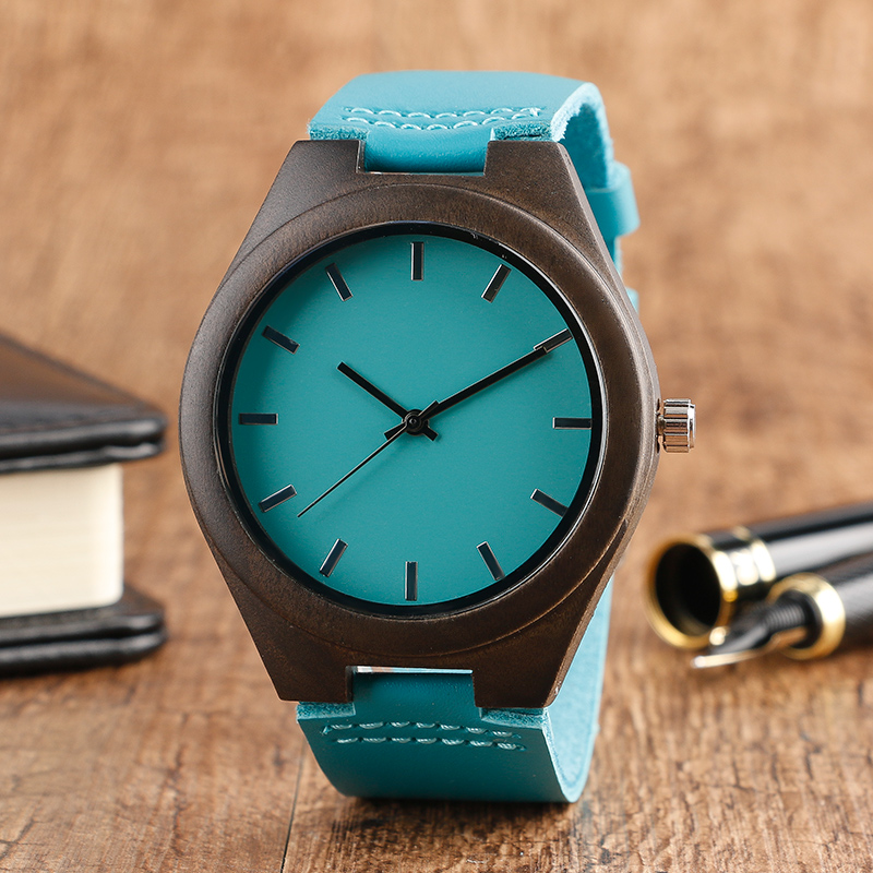 New Arrival Walnut Wooden Case Mens Women Blue Genuine Leather Band Strap Modern Wood Wrist Watch Novel Gift Hot Free Shipping