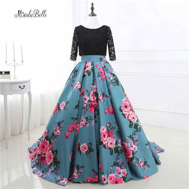 5bd38c661b Ball Gown Printing Long Floral Prom Dresses Black Lace Prom Gowns Party  Dress Women Formal Evening Gowns 2017 Robe De Bal Longue