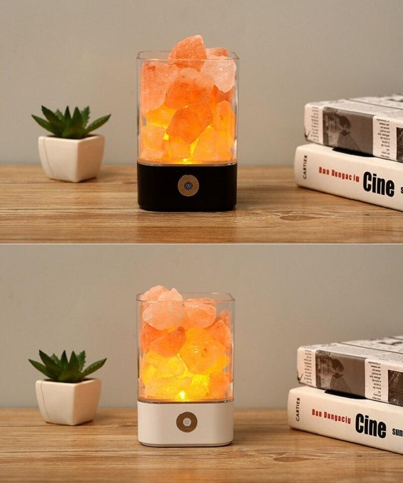 LED Night lamp Himalayan Salt Lamp USB rechargeable Air Purifier Crystal Rock Salt Night Light