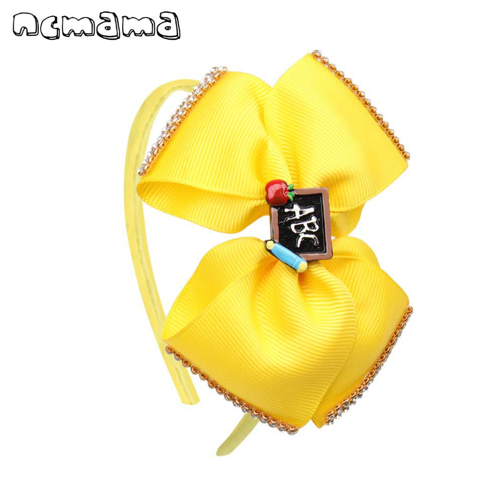ncmama BACK TO SCHOOL Headband for Girls Handmade Rhinestons Grosgrain Ribbons Hair Bows Hairband Hoop for Kids Fashion   Headwear