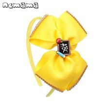 ncmama BACK TO SCHOOL Headband for Girls Handmade Rhinestons Grosgrain Ribbons Hair Bows Hairband Hoop Kids Fashion Headwear