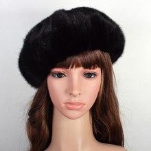 Russa Verdadeira Pele De Vison das Mulheres Boinas Chapéus Feminino Inverno  Quente Caps Moda Chapelaria VK3075 cb725a30933