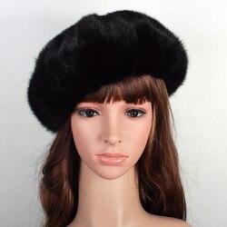 Russische frauen Real Nerz Baretthüte Weibliche Winter Warme Mützen Mode Kopfbedeckungen VK3075