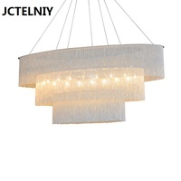 Modern chain chandelier hotel light light luxury creative villa living room black chandelier Nordic Oval chandelier