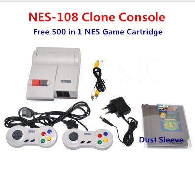 for NES 108 Clone Console include Two Controllers Free 500 in 1 for NES Game Cartridge