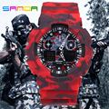 САНДА 2016 Новая Мода S-SHOCK, Устойчивые Спортивные Часы Водонепроницаемый Электронный СВЕТОДИОДНЫЙ Цифровой Военный Мужчины Классический Наручные Часы