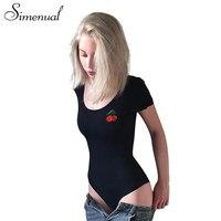 Simenual Wiśni hafty ciała fitness sexy body kombinezony lato kobiety krótki rękaw czarne body bandaż pajacyki kobiet