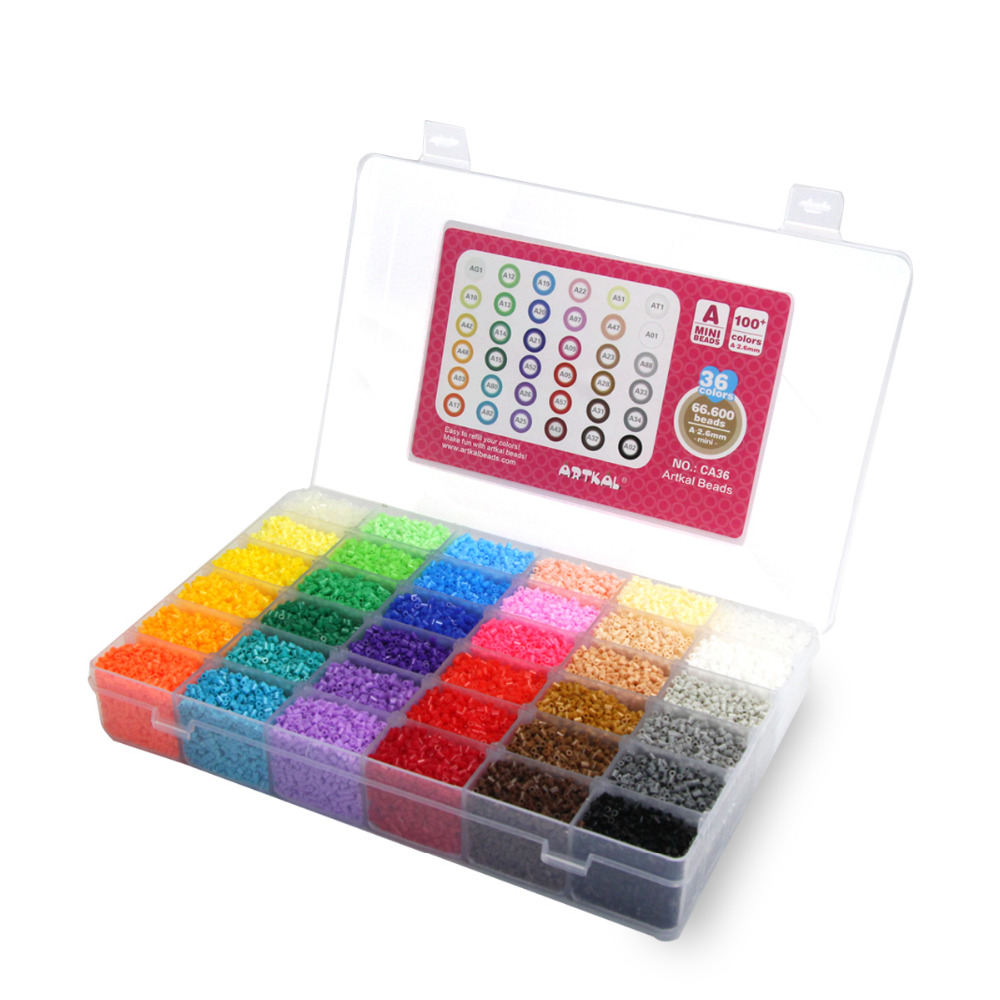 36 Color Box Set Artkal Exclusive Soft Beads Box Set Perler Mini Beads Plastic EVA Educational toys  eva 1 lot 2 pcs hama fuse perler beads 2 6mm big square pegboards connecting pegoard mini hama beads jigsaw puzzle handmade diy