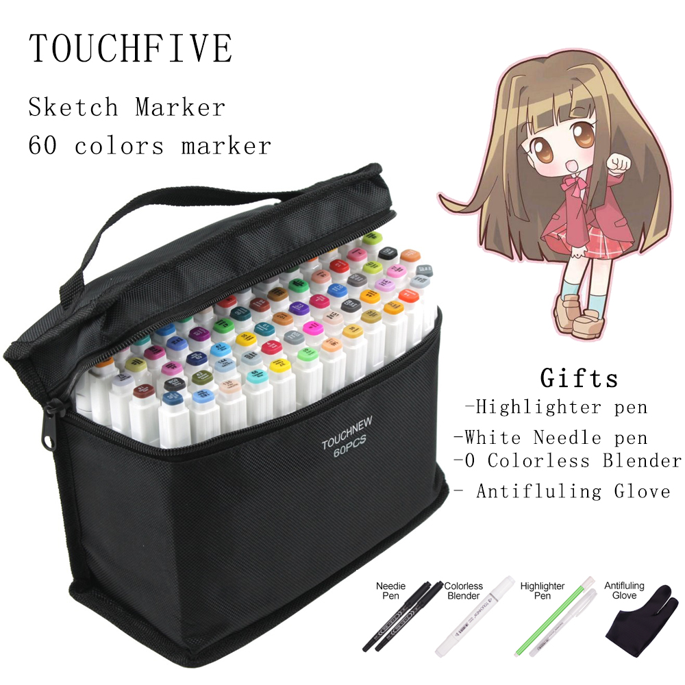 Twin Brush Marker Set Touchfive Graffiti Marker Pen Set Touchnew Sketching markers 60 Colors Drawing Pen Manga Design for School