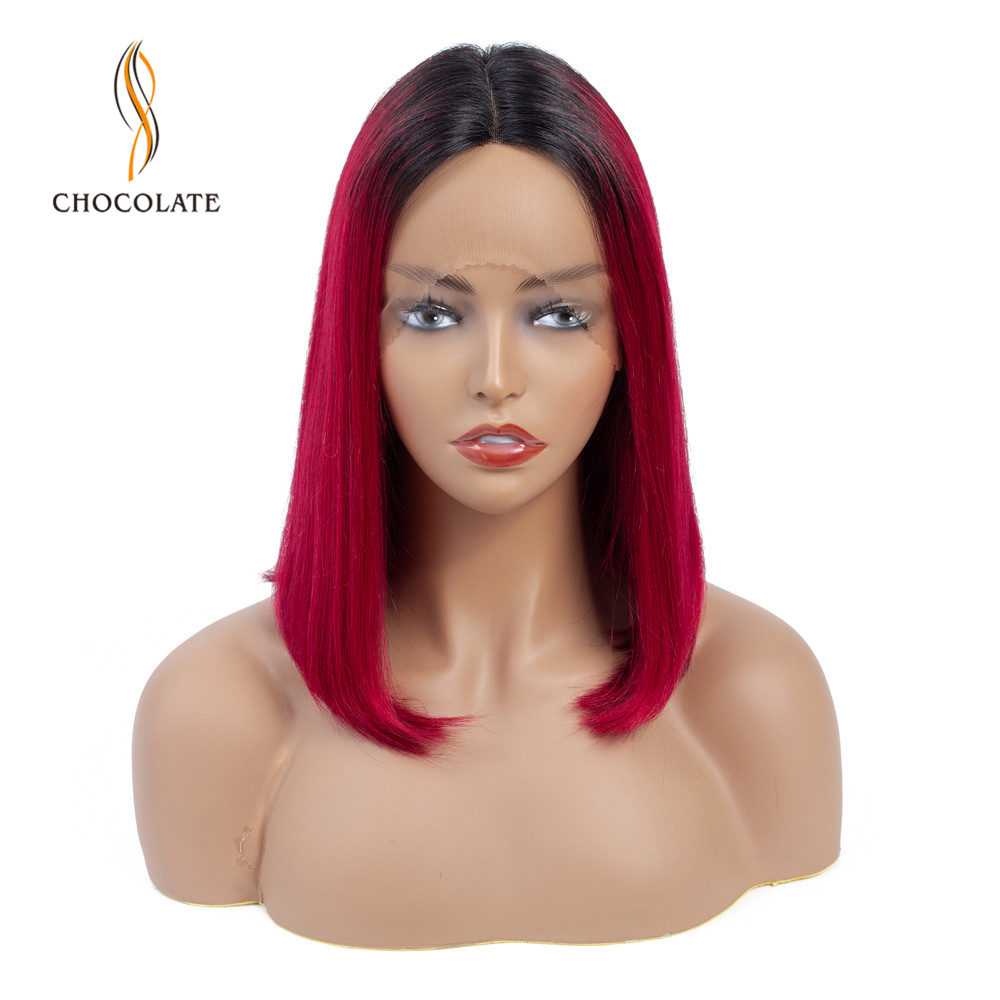 Ombre Red T Shape Lace Human Hair Wig For Women Brazilian Straight Human Hair Wigs Remy Short Bob Lace Hairline Wigs Middle Part