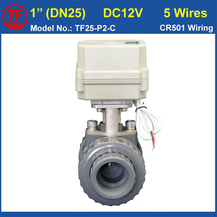 ФОТО BSP/NPT 1'' PVC DN25 Water Electric Valve TF25-P2-C DC12V CR501 Wiring 10NM On/Off 15 Sec Metal Gear For Water Control