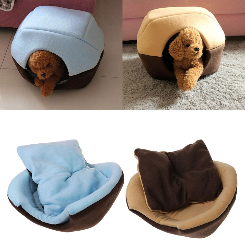 2 Uses Foldable Soft Cat Dog Bed House Pet Cave Puppy Sleeping Mat Pad Nest Dog Beds for Small Dogs