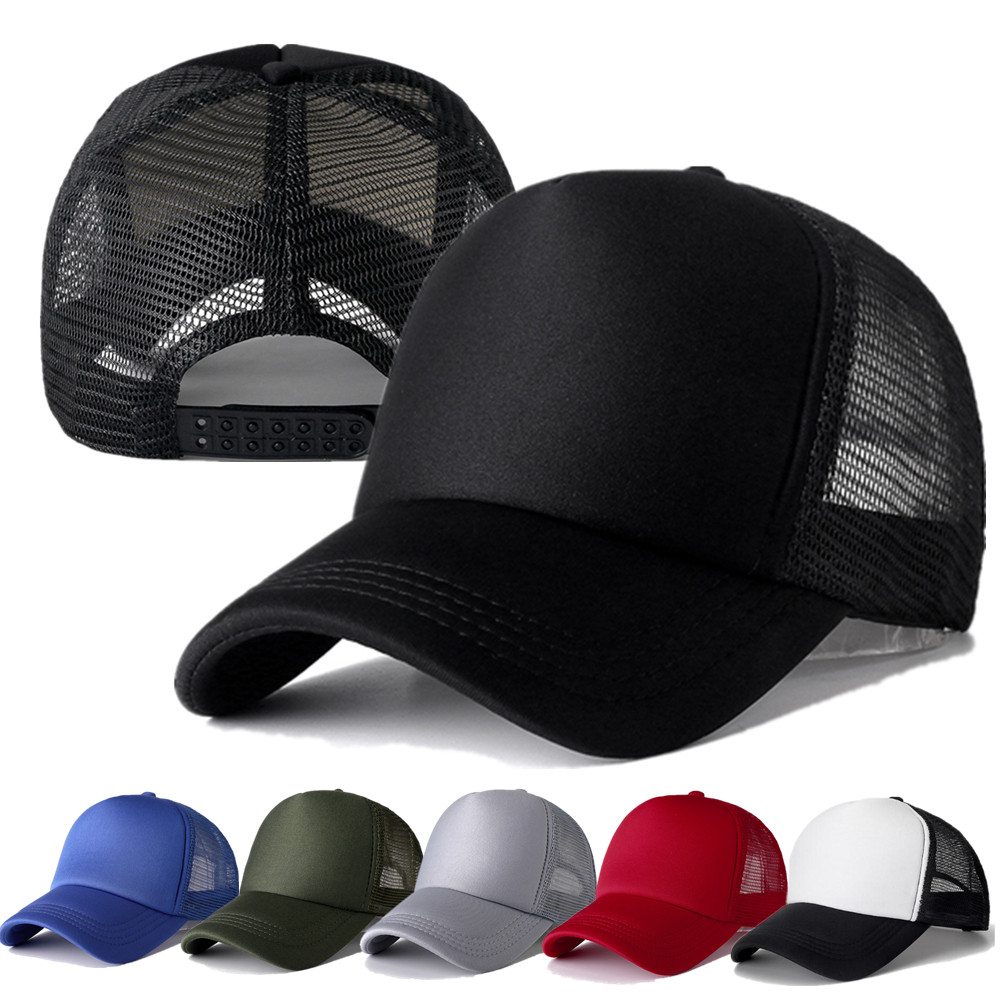 1 PCS Unisex Cap Casual Plain Mesh Baseball Cap Adjustable Snapback Hats For Women Men Hip Hop Trucker Cap Streetwear Dad Hat(China)