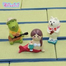 Beauty Decole Cat Series Guitar Frog Ukulele Bear Model Miniature Figurine home Garden action Figures Decoration Girl toy gift