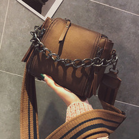 ETAILL Barrel Shaped Scrub Leather Design Crossbody Bag With Thick Chain Stripe Wide Strap Shoulder Bag Small Flap Bucket Bag