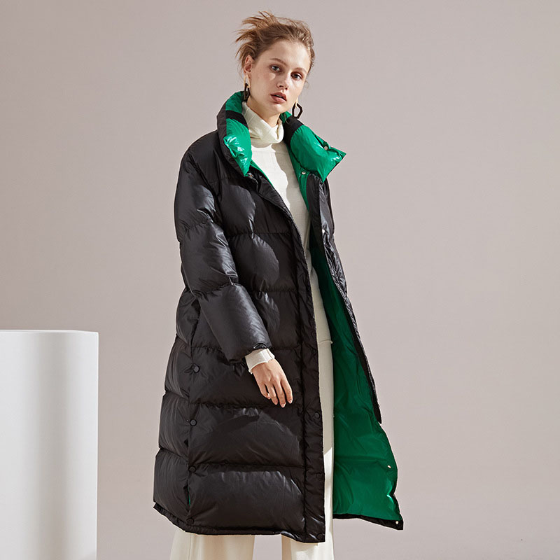 Candy color long down coat outerwear women turn down collar white duck down jacket new 2019 autumn winter