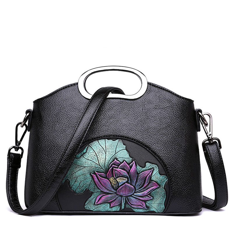 Women Handbag Vintage Shoulder Bag Flowers Pattern High Quality Female Messenger bags Chinese style Crossbody sac a main high quality colorful flowers and girl pattern removeable wall stickers