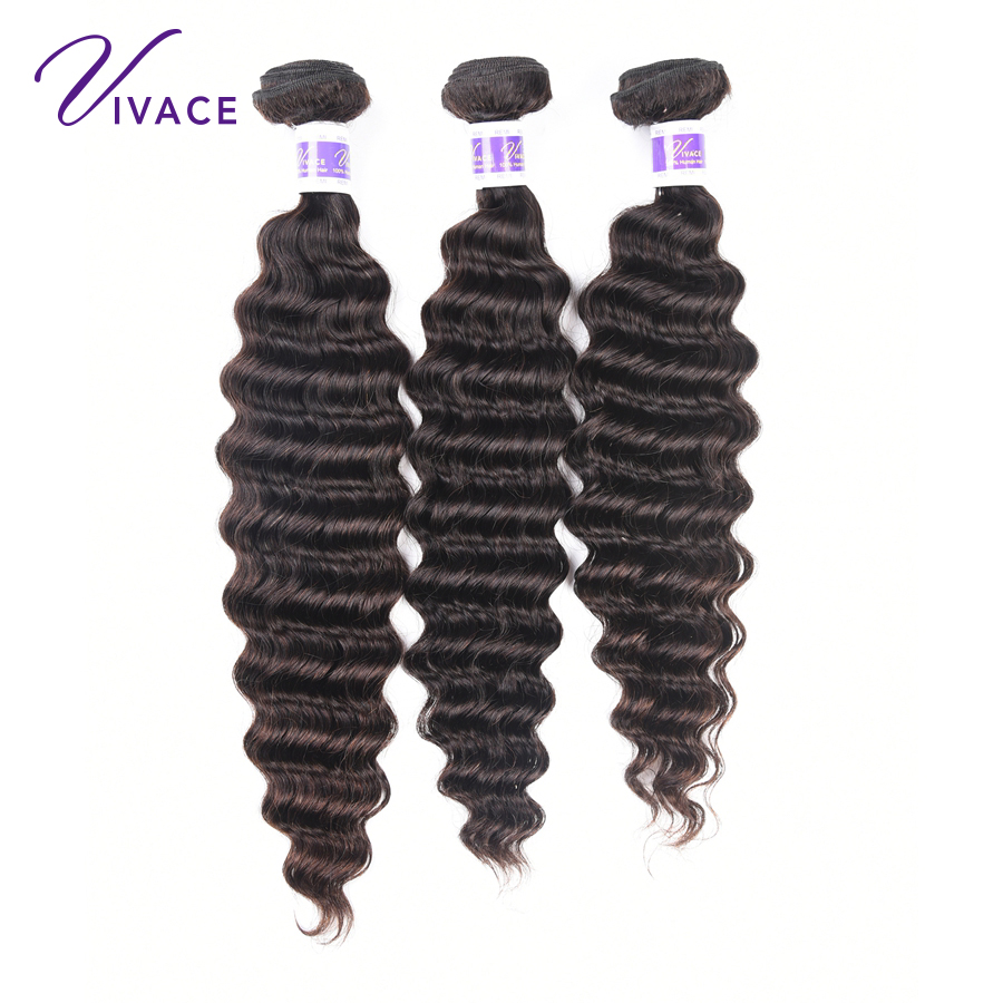 Vivace hair Brazilian Deep Wave Human Hair 3 Bundles Weave Extensions Natural Black Color Remy Hair 3 Pieces free shipping