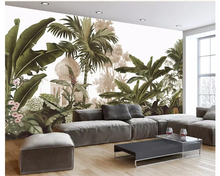 beibehang wall paper Personalized European retro wallpaper painted hand-painted rain forest murals television background