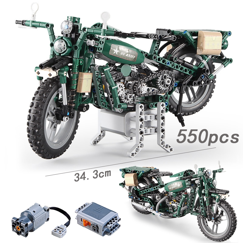 Compatible Power Function Military ww2 Motorcycle Technic City Police Model with Motor Building Block Brick Toys