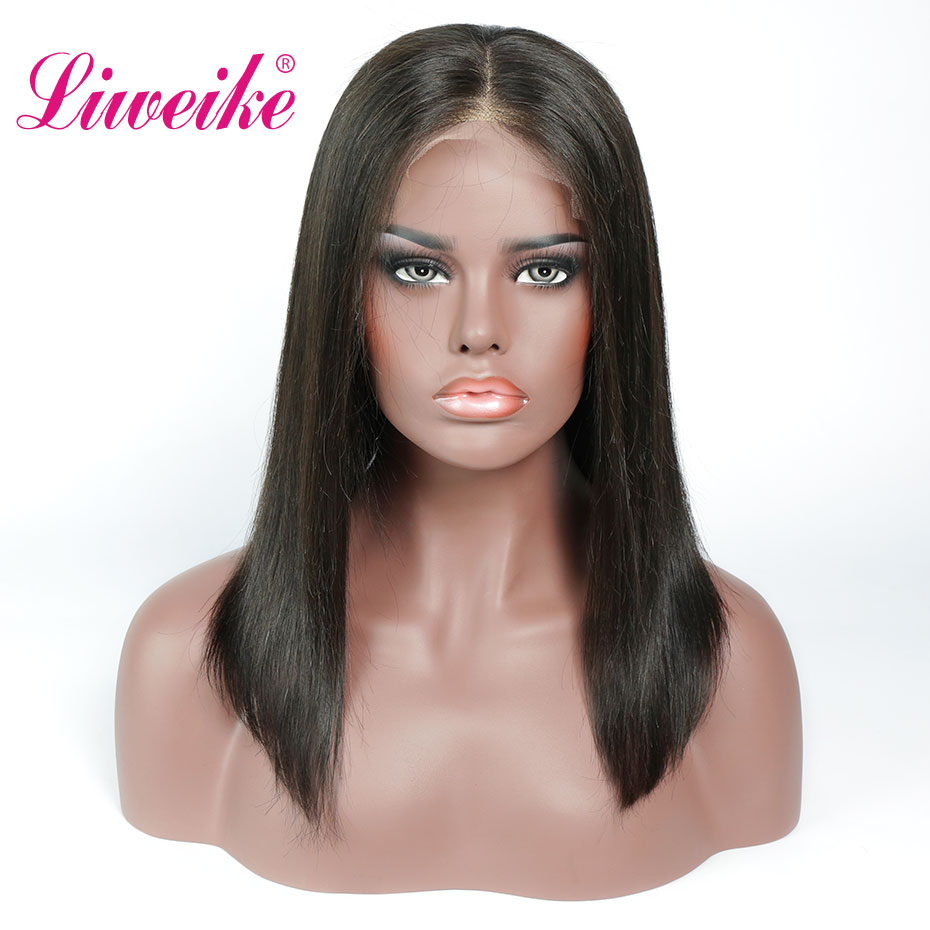 Liweike Short Bob <font><b>Wig</b></font> <font><b>Lace</b></font> Front Human Hair <font><b>Wigs</b></font> 180% <font><b>300</b></font>% <font><b>Density</b></font> <font><b>Wig</b></font> Brazilian Remy Hair Glueless Pre Plucked 12 Inches <font><b>Wig</b></font> image