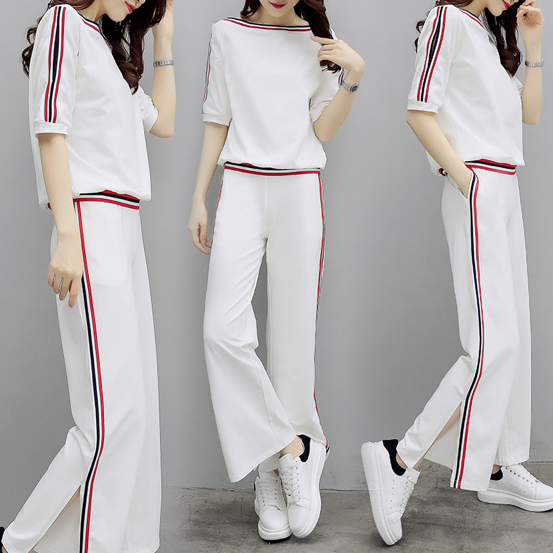 2018 nouveau femmes costume décontracté grande taille haut ample t shirt & pantalon à jambes larges mode coréenne été deux pièces vêtements ensemble S-XXL