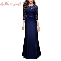Amourlymei Sexy Lace Maxi Dresses Women Elegant Evening Party Gown Long Dress Floor Length Formal Dress