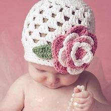 1 Pcs Lovely Big Flower Baby Hats Winter White Knitted Crochet Beanie For Girls Handmade Hat Winter White Baby Knit Cap