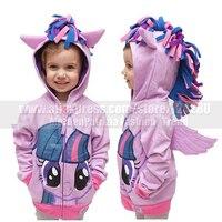 Kids Girls My Little Pony Wing Cosplay Costume Hoodie Autumn Cute Twilight Sparkle Sweatshirt Coat Zip