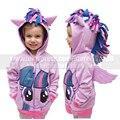 Muchachas de los cabritos My Little Pony Cosplay traje con capucha otoño lindo Twilight Sparkle camiseta de la capa chaqueta cremallera para muchacha del niño