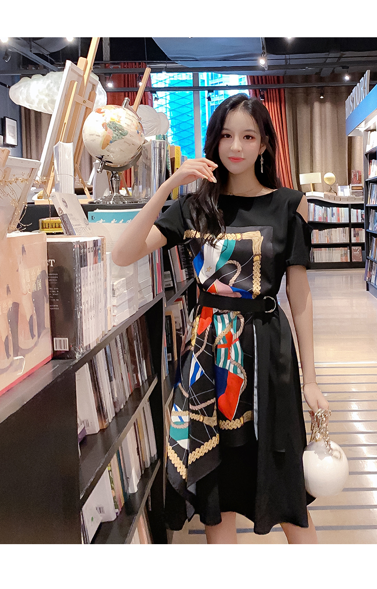 Fashion Summer Women Casual Dress High Street Print Belt Short Sleeve Loose Dress Sexy Off Shoulder Patchwork Hit Color Dress 15