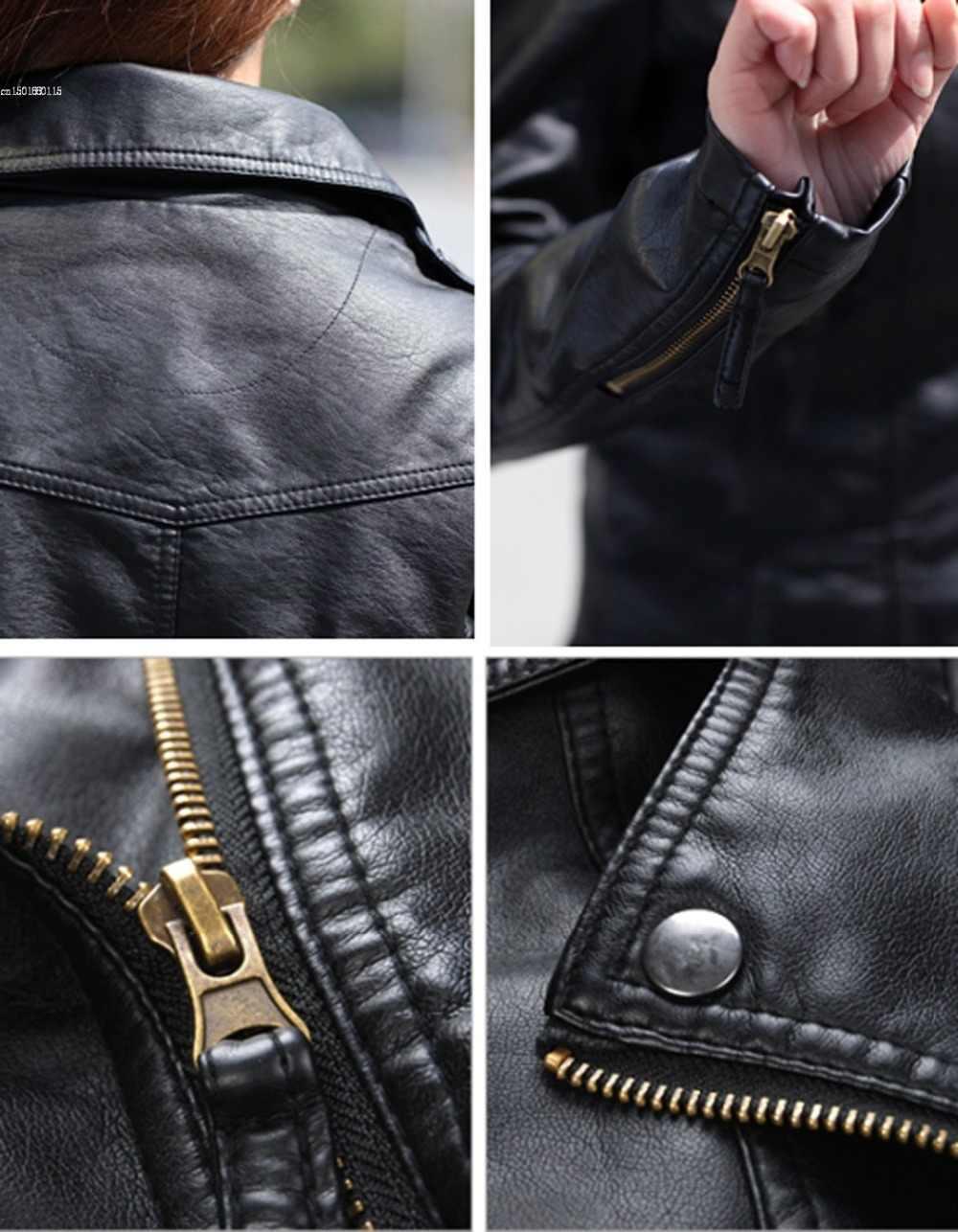 Women's Leather Blazers Jacket Coat 2018 New Fashion Autumn Winter blaze Jackets Black Zippers Coat Motorcycle Outerwear Black