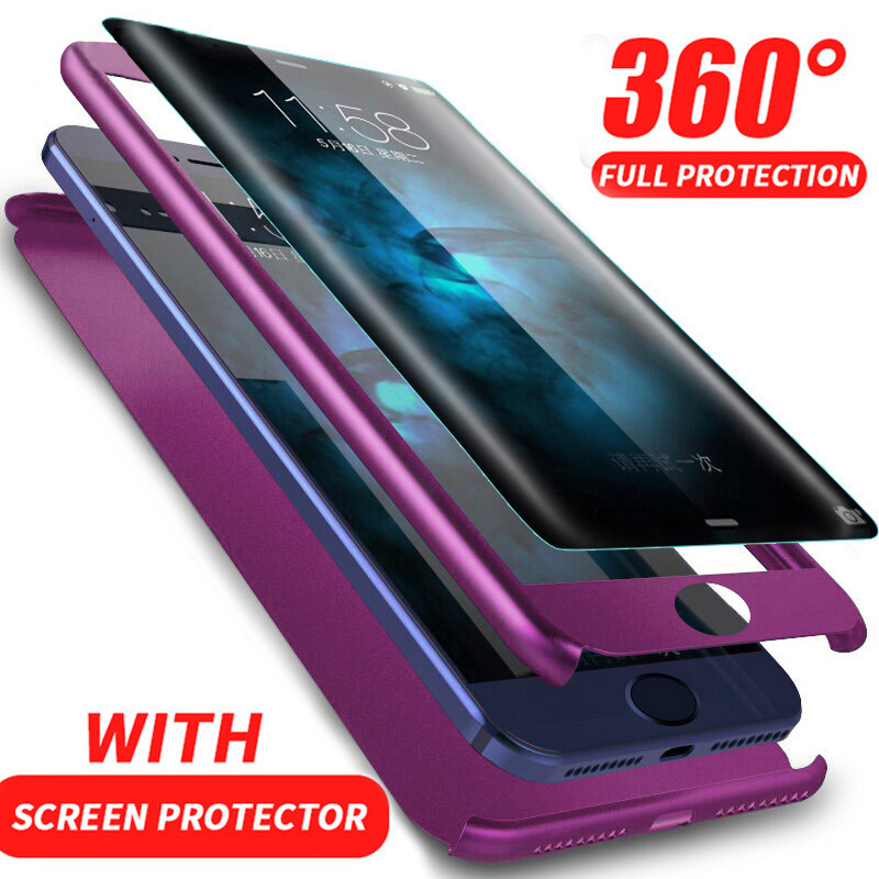 Luxury 360 Degree Full Cover Cases For iPhone X 6 6s 7 8 Plus Protection Cover For iPhone 7 8 6 6S Plus Case With Tempered Glass