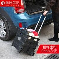1pcs ABS 33cm*36cm*36cm Car trunk storage box Portable fold Trolley case car styling for BMW MINI cooper clubman countryman