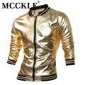 Mcckle novedad mens varsity chaqueta con recubrimiento metálico noche club wear chaquetas brillantes del collar del mandarín negro oro plata q2657