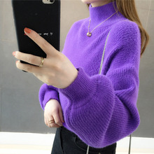 Woman Winter New Loose Sweaters Half Turtleneck Ladies Casual Warm Knitted Pulls Solid Color Autumn Sweater
