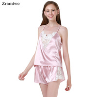 Zramiwo Womens Sexy Sleepwear Set Satin Pajama Pants Set Embroidery Nightgown Lace Camisole Short Summer