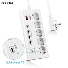 Блок питания 5 розеток ЕС розетка с USB QC 3,0 порт быстрой зарядки для смартфонов, планшетов USB устройств, 1,8 м удлинитель